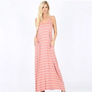 🛍 Dusty Pink Striped Maxi with Pockets